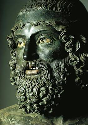 Sculpture - Detail Of The Head Of Statue A Or The Younger Of The Riace Bronzes by Greek