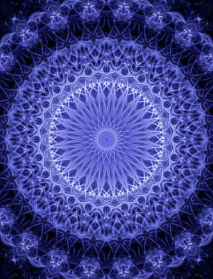 Digital Art - Detailed Blue And White Mandala by Jaroslaw Blaminsky