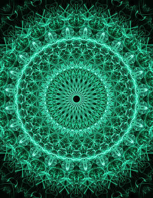 Digital Art - Detailed Green Mandala by Jaroslaw Blaminsky