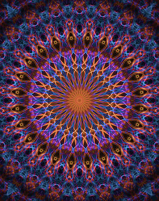 Digital Art - Detailed Mandala In Orange, Pink And Violet Tones by Jaroslaw Blaminsky