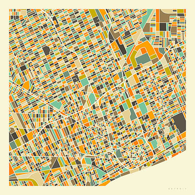 City Map Wall Art - Digital Art - Detroit Map 1 by Jazzberry Blue