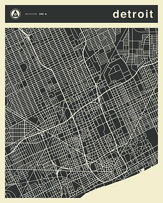 Detroit Wall Art - Digital Art - Detroit Map 3 by Jazzberry Blue