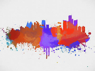 Painting - Detroit Michigan Color Skyline by Dan Sproul