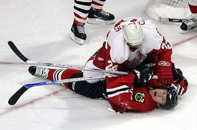 Photograph - Detroit Red Wings V Chicago Blackhawks by Bruce Bennett