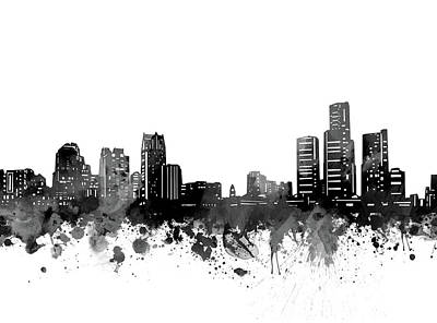 Abstract Skyline Royalty-Free and Rights-Managed Images - Detroit Skyline Bw by Bekim M