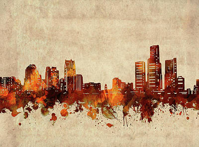Abstract Skyline Royalty-Free and Rights-Managed Images - Detroit Skyline Sepia by Bekim M