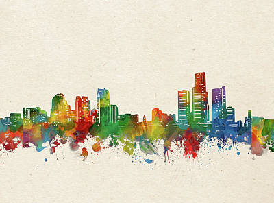 Abstract Skyline Royalty-Free and Rights-Managed Images - Detroit Skyline Watercolor by Bekim M