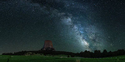Photograph - Devil's Tower At Night by Gary Lengyel