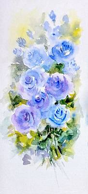 Painting - Dew Fresh Blue Roses by Asha Sudhaker Shenoy