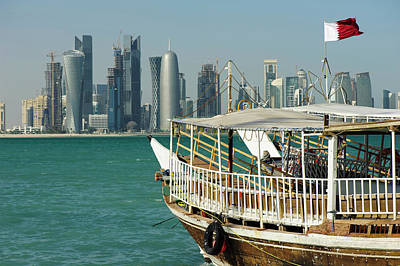 Dhow Photograph - Dhows In The Harbor Of Doha, Qatar On by Ajansen