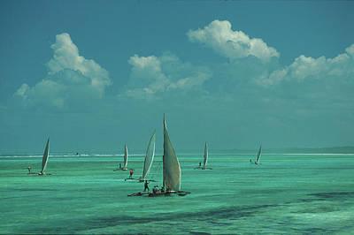 Dhow Photograph - Dhows On Sea, Maternwe, Zanzibar by Hauke Dressler / Look-foto