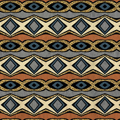 Digital Art - Diamond And Eye Motif With Leopard Accent by Sand And Chi