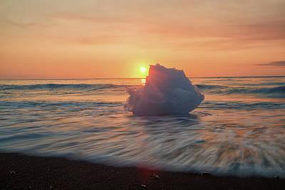 Diamond Beach Sunrise Iceland Art Print