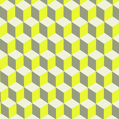 Digital Art - Diamond Repeating Pattern In Limelight Yellow Gray And White by Taiche Acrylic Art