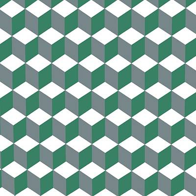 Digital Art - Diamond Repeating Pattern In Quetzal Green And Grey by Taiche Acrylic Art
