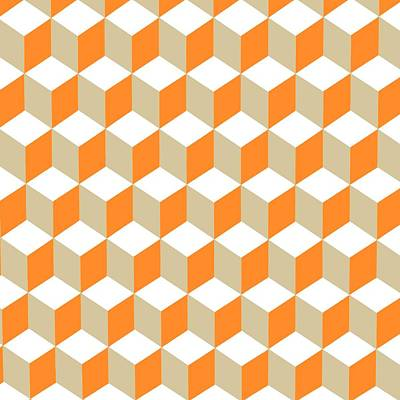 Digital Art - Diamond Repeating Pattern In Russet Orange And Grey by Taiche Acrylic Art