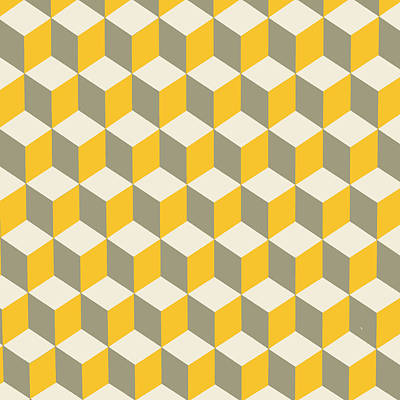 Digital Art - Diamond Repeating Pattern In Yellow Gray And White by Taiche Acrylic Art