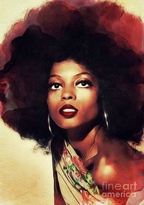Music Paintings - Diana Ross, Singer by Esoterica Art Agency