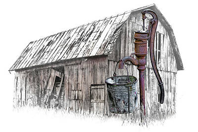 Photograph - Digital Art Of Old Water Pump With Metal Bucket By An Old Barn by Randall Nyhof