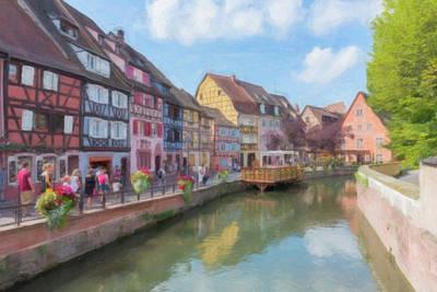 Digital Art - Digital Drawing Of The Pretty Village Of Colmar In France by Vicen Fotografia