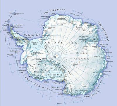Digital Illustration Of Antarctica Art Print by Dorling Kindersley