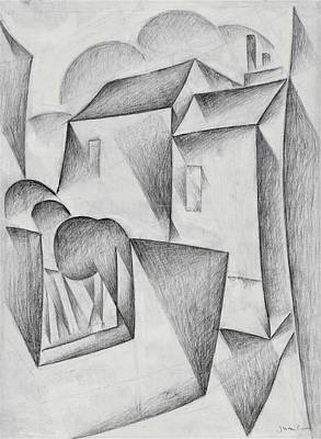Impressionism Drawing - Digital Remastered Edition - Houses In Paris, Place Ravignan - Original White by Juan Gris