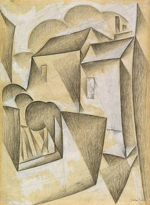 Impressionism Drawing - Digital Remastered Edition - Houses In Paris, Place Ravignan by Juan Gris