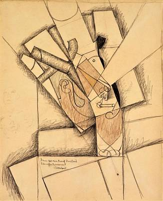 Impressionism Drawing - Digital Remastered Edition - The Smoker by Juan Gris