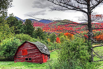 Photograph - Dilapidated Barn Keene New York Ny Route 73 Autumn Hills by Toby McGuire