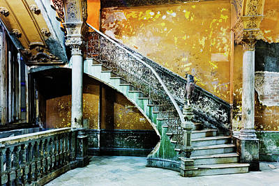 Indoors Photograph - Dilapidated, Ornate Stairway by Pixelchrome Inc