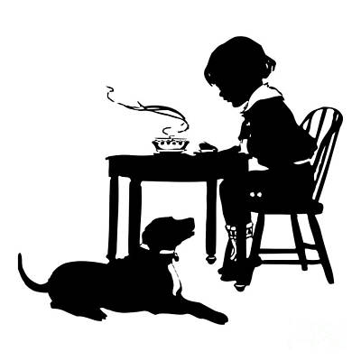 Digital Art - Dining With The Dog Silhouette by Rose Santuci-Sofranko
