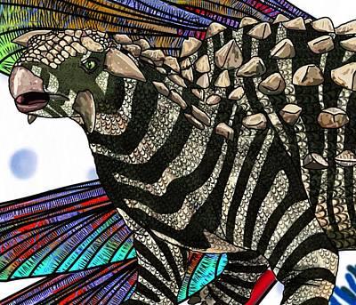 Digital Art - Dinosaur Ankylosaurus Head by Joan Stratton