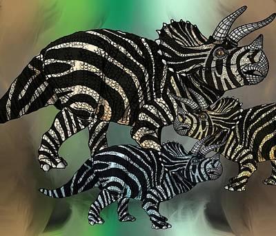 Digital Art - Dinosaur Triceratops Family by Joan Stratton