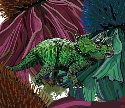 Digital Art - Dinosaur Triceratops Flowers by Joan Stratton