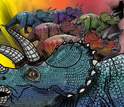 Digital Art - Dinosaur Triceratops Herd by Joan Stratton