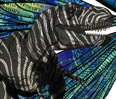 Digital Art - Dinosaur Tyrannosaurus Head by Joan Stratton
