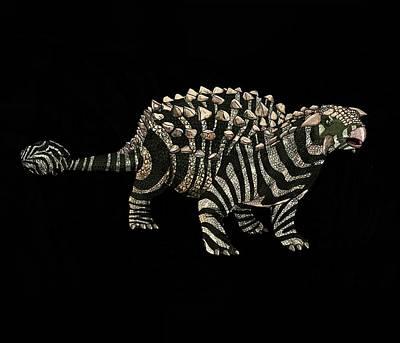 Digital Art - Dinosaur Zebra Ankylosaurus 1 by Joan Stratton