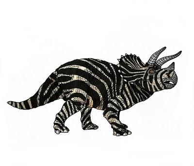 Digital Art - Dinosaur Zebra Triceratops by Joan Stratton
