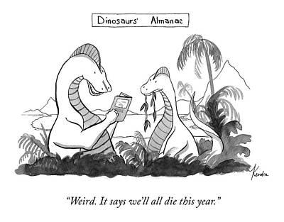 Drawing - Dinosaur's Almanac by Kendra Allenby