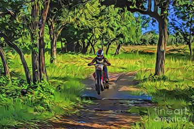 Painting - Dirt Bike A18-48 by Ray Shrewsberry