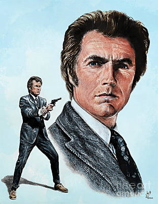 Drawing - Dirty Harry Callahan by Andrew Read