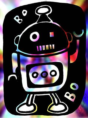 Painting - Disco Martian Robot Et Alien by Robert R Splashy Art Abstract Paintings