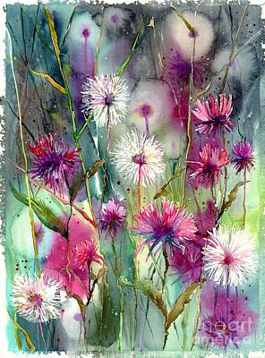 Tulips Watercolor Wall Art - Painting - Disco Thistles by Suzann's Art