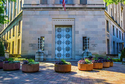 Christmas Patents Rights Managed Images - Discrete Entrance To The Department of Justice  Royalty-Free Image by Edward Garey