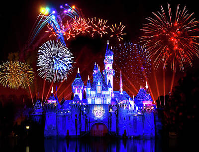 Fantasy Royalty-Free and Rights-Managed Images - Disneyland 60th Anniversary Fireworks by Mark Andrew Thomas