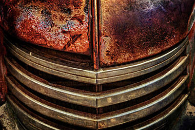 Photograph - Distressed And Aged Antique Dodge Truck Grill by Teri Virbickis