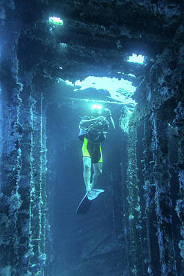 Photograph - Diver In The Patris Shipwreck by Milan Ljubisavljevic