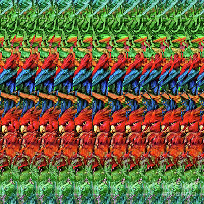 Digital Art - Dna Autostereogram Qualias Parrots 1 by Russell Kightley