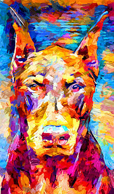Doberman Pinscher Wall Art - Painting - Doberman 3 by Chris Butler