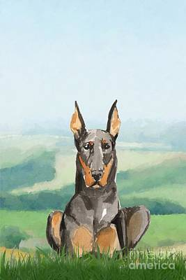 Doberman Pinscher Wall Art - Painting - Doberman Pinscher by John Edwards